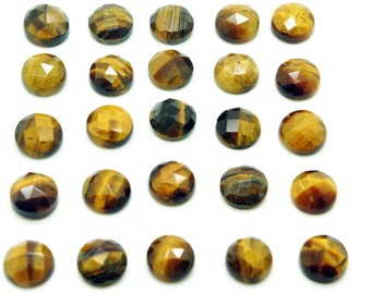GCF-1005 - Tiger Eye Cabochon - Faceted Gemstone - 10mm Round - AA Grade - 1 Pc