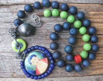 Peaceful, Colorful Buddha Necklace, Trade Beads, Druzzy, Vintage Button, Handmade Bead