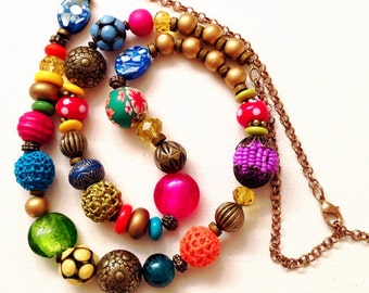 Colorful long Bead Necklace