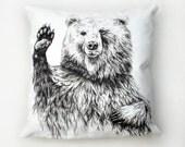 Waving Bear Cushion Cover