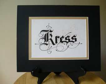 Custom Calligraphy Family Name in 8 x 10 Mat