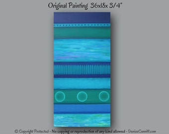 Large wall art, Blue abstract, Teal home decor, Navy blue, Green, Canvas abstract, Master bedroom decor, Living room artwork, Office decor