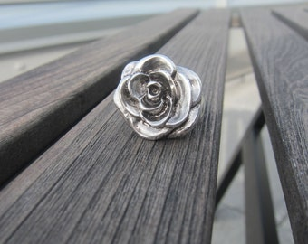 Open Rose Ring - sterling
