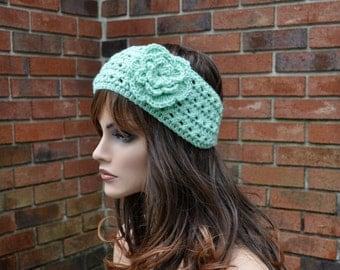Crochet Ear Warmer, Crochet Headband with Flower in Honeydew color, Head wrap. Style 2.