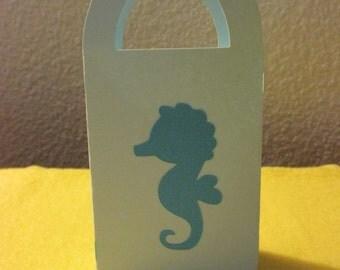 12 Mini gift box/bag with a seahorse, Powder blue with seahorse favor bags, mini favor bags