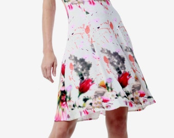 Viscose jersey floral print dress with bra cups