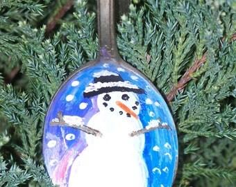Snowman Painted Spoon Christmas Ornament Holiday Decor XMAS Decoration Vintage Utensil