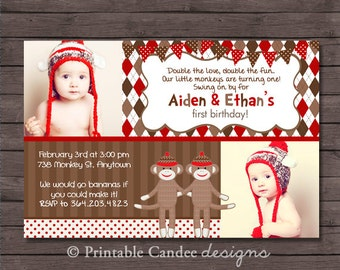 Twin Boy Sock Monkey Birthday Invitation - DIY Custom Printable