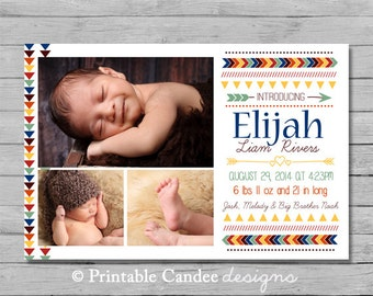 Baby Boy Birth Announcement - Modern Arrow - DIY Custom Printable
