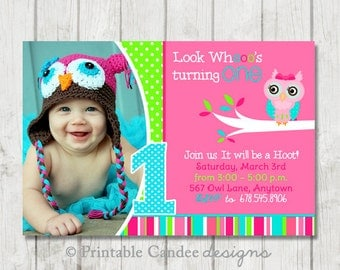 Pink and Lime Green Owl Birthday Invitation - DIY Custom Printable