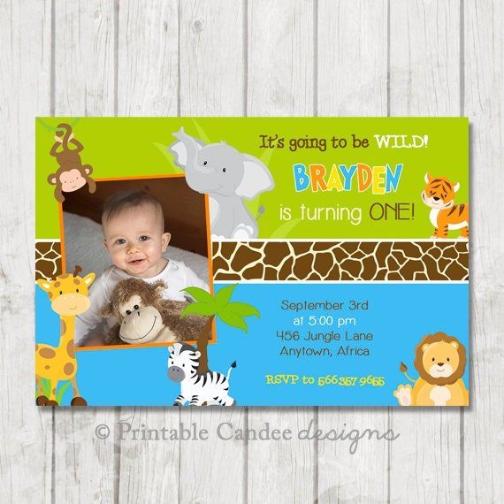 Boy Jungle Birthday Invitation - Jungle Birthday - Safari Birthday - Safari Invitation - Jungle Animal Party - Printable Jungle Invite