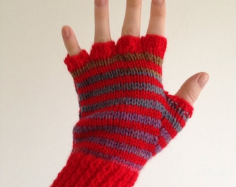 Ladies small striped nan-knitted fingerless mittens