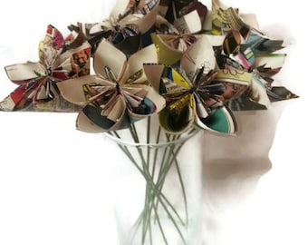 Comic Book / Superhero / Hero Paper Origami Flowers with Wire Green Stems