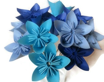 Ombre Blue Paper Flower Bouquet, Origami Flowers, Paper Flowers