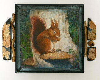 mixed-media oil painting with collaged artist created frame titled: Autumn Squirrel