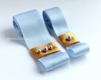 Blue Bridal Sash, Sky Blue Satin Flower Girl Belt, Wedding Set
