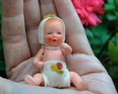 Antique 1920s/1930s German Bisque Dollhouse Doll / Sweet Baby with Maker's mark