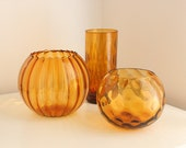 Italian Amber Handblown Glass Collection of Optic Vases