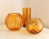 Italian Amber Handblown Glass Collection of Optic Vases
