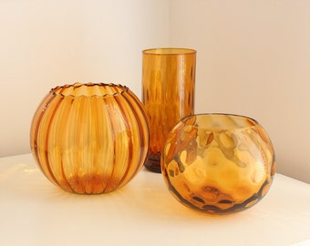 Midcentury Italian Amber Handblown Glass Collection of Optic Vases