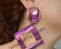 Large 80s Style Square Earrings, Friendly Plastic, pierced, metalic colors, purple/fuschia/pink/magenta, handmade one, egst, made in Greece