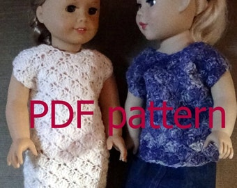 038 shell top or dress pattern for American Girl doll in crochet