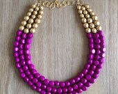 Radiant Orchid and Gold Statement Necklace - icravejewels