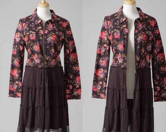 Repurposed women's jean jacket boho vintage with skirt M flower black dress stretch coat zip-up front