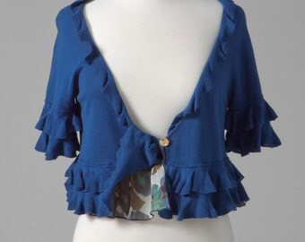 Womens repurposed crop sweater bolero ruffle S-M blue shrug