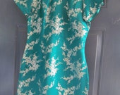 Vintage Green Oriental Lined DressMade In Hong Kong 1964