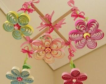 Baby Mobile - Crib Mobile - Girl Mobiles - Cot Mobile - Quilling - Ribbon Bows - Baby Mobiles - Crib Mobiles - Baby Mobile Flowers - 19A.
