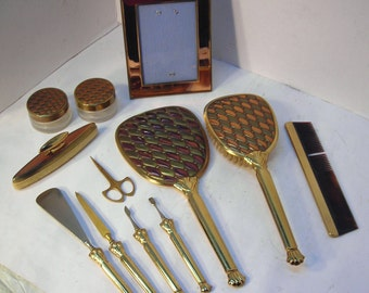 Vintage Art Deco 12 Piece Vanity Set in Copper and Gold Stone Road Pattern