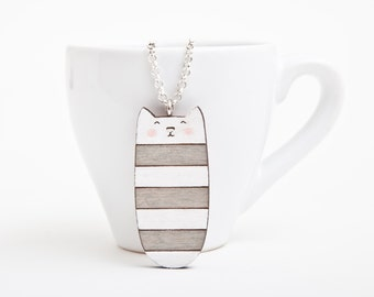 Necklace Wooden Cat Pendant Striped Gray Necklace Cats Cute Jewelry Laser Cut Pendant Valentine's Day Gift Womens Gift