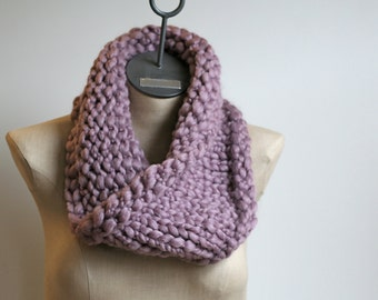 The Cobblestone Cowl ~ Hand Knit Wool Blend Neck Warmer Infinity Scarf in Soft Lavender