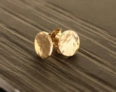 Little Suns - little organic hammered solid rose 9ct 9k gold & silver stud post earrings.UK, custom made, hand made, jewellery...