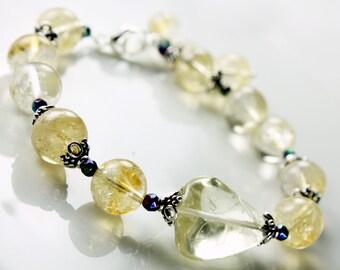 Golden citrine bracelet with sterling silver, gemstone statement bracelet, fine bracelet, gift, alira jewelry,  November birthstone, 2121