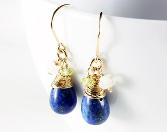 Lapis Lazuli Earrings, gold-filled wire wrapped earrings, royal-blue gemstone earrings, Peridot, rock crystal, December birthstone, ER2500