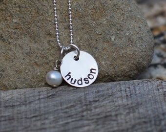 TWO Hand Stamped Single Disc Sterling Silver Necklace Sets