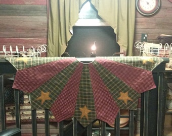 "primitive Christmas Tree Skirt 48"" with stars"