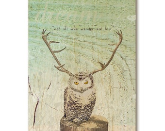 "Owl with antlers art print on wood with quote ""Not All Who Wander Are Lost"""