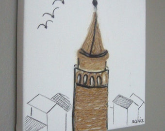 Istanbul wall decor /mixed media on canvas / Galata Tower of Istanbul