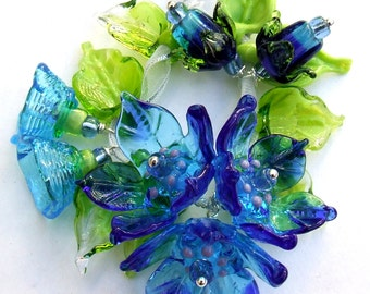 Lampwork Glass Flower Beads for Jewelry Making, A Romantic Bouquet, Set of 15 Blue, Turquoise and Green Flower beads, Made to Order