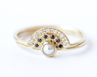 Pearl Engagement Ring and a Pave Diamond Wedding Ring - Double Crown Wedding Set - 18k Gold