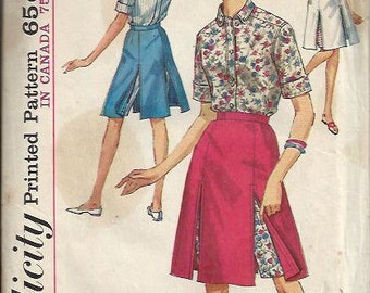 1960's Simplicity 5284 Juniors and Misses Skirted Shorts and Shirt Pattern, Size 9, bust 30 1/2