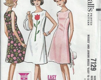 1960s Misses and Junior Flared Dress Pattern, McCall's 7129, Size 11-12, Bust 31 1/2-32 UNCUT