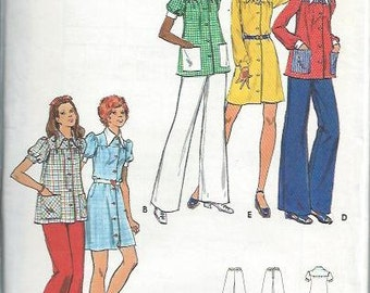 VTG Butterick 3071 Young Junior/Teen and Misses Dress, Smock & Pants Pattern, Size 5/6, UNCUT