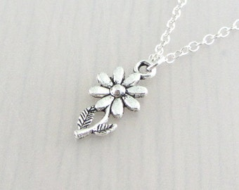 Silver Plated Daisy Flower Charm On A Sterling Silver Necklace, Silver Daisy Flower Pendant, Daisy Flower Charm Pendant, Daisy Necklace