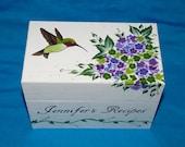 Decorative Wooden Recipe Card Box Painted Wood Recipe Box Custom Wedding Personalized Purple Hydrangea Butterfly Sunflower Bridal Gift