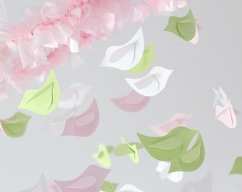 Baby Shower Nursery Mobile- Bird Mobile Nursery Decor in Pink, Green & White