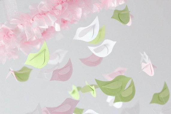Baby Shower Nursery Mobile- Bird Mobile Nursery Decor in Pink, Green & White